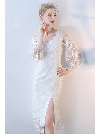 White Feathers Slit V-neck Party Dress with Puffy Sleeves