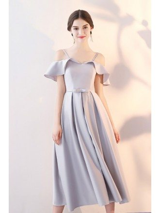Elegant Grey Tea Length Homecoming Party Dress with Flounce