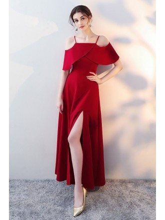 Burgundy Long Red Flounce Formal Dress with Straps