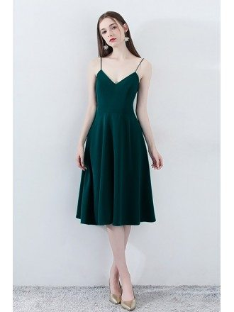 Simple Chic Dark Green Homecoming Dress V-neck with Straps