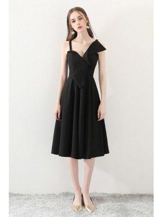 2018 Black Aline Simple Homecoming Dress Tea Length