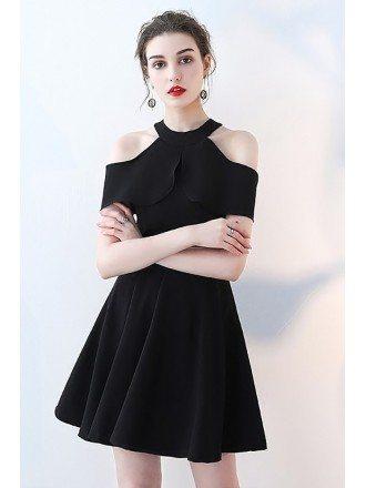 Little Black Aline Short Halter Homecoming Dress