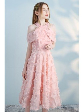 Pink Feathers Tea Length Party Dress Aline