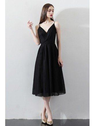 Black V-neck Tea Length Party Dress with Spaghetti Straps