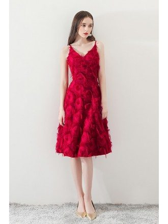Burgundy Feathers Knee Length Party Dress with Straps