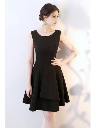 Black Aline Short Homecoming Wrap Dress Sleeveless