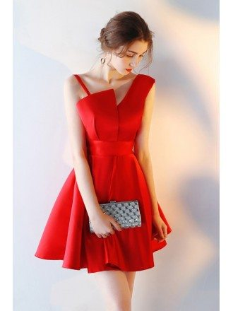 Red Aline Satin Short Homecoming Dress with Straps