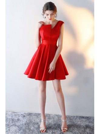 Little Red Flare Aline Homecoming Dress with Straps