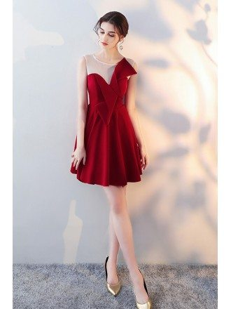 Cute Bow Red Homecoming Dress Flare with Sheer Neck