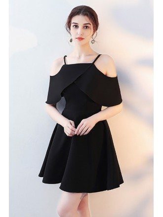 Little Black Flare Homecoming Dress with Flounce Straps