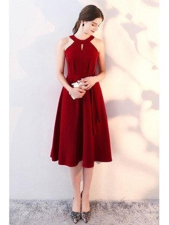 Burgundy Knee Length Homecoming Party Dress Halter with Sash
