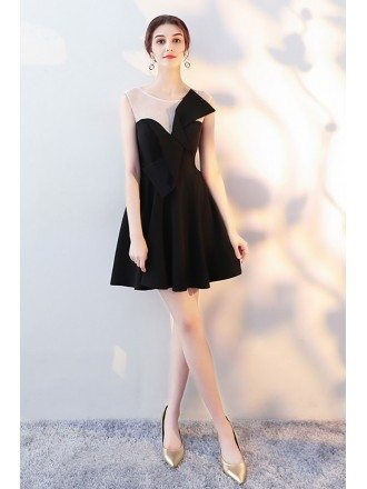 Little Black Flare Homecoming Dress with Bow Knot