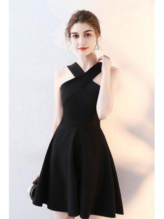 Little Black Short Halter Homecoming Dress Aline
