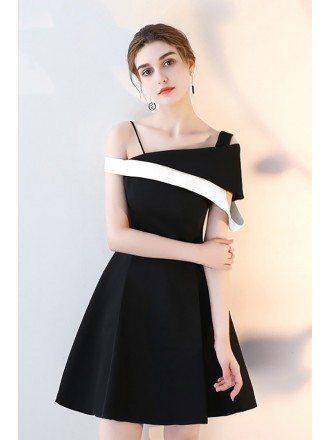 Chic Black and White Homecoming Dress Short Aline