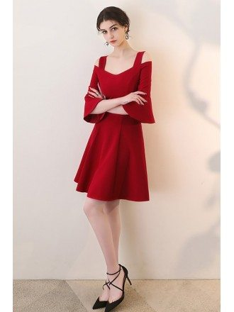 Burgundy Aline Short Red Homecoming Dress with Bell Sleeves