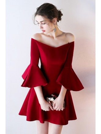 Gorgeous Burgundy Off Shoulder Homecoming Dress Short with Bell Sleeves