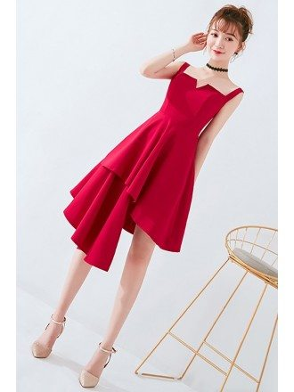 Simple Chic Burgundy Short Homecoming Dress with Straps