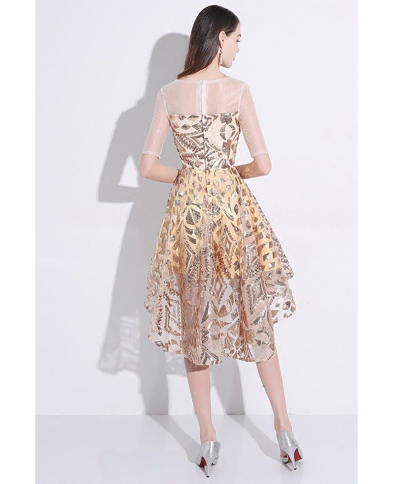 Sparkly Gold Sequin High Low Short Party Dress With