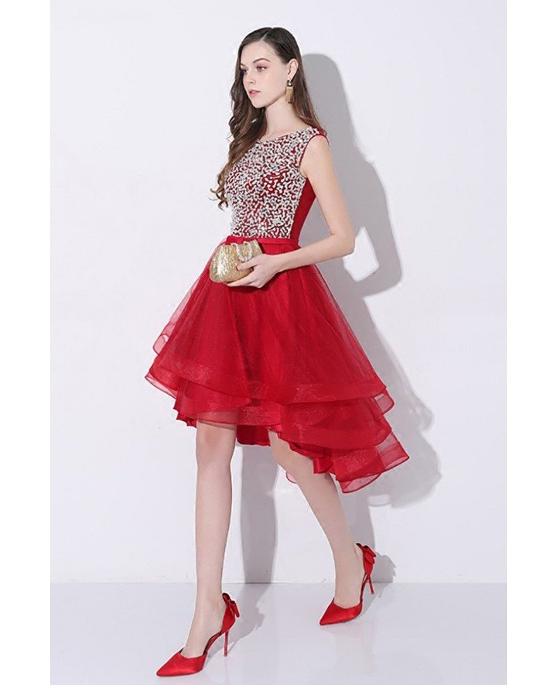Sparkly Sequins Red High Low Prom Homecoming Dress With