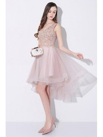 Tulle High Low V-neck Homecoming Prom Dress Sleeveless