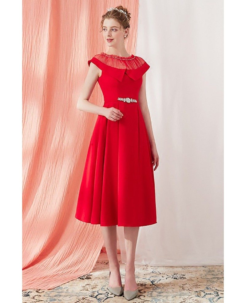 Vintage Red Knee Length Short Party Dress With Illusion