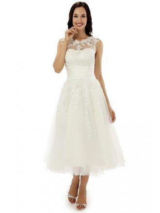 A-line Scoop Lace Tea-length Wedding Dress