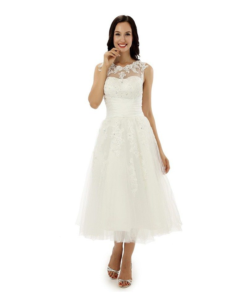 Wedding Dresses For Over 50s Uk: A-line Tea-length Wedding Dress For Older Brides Lace