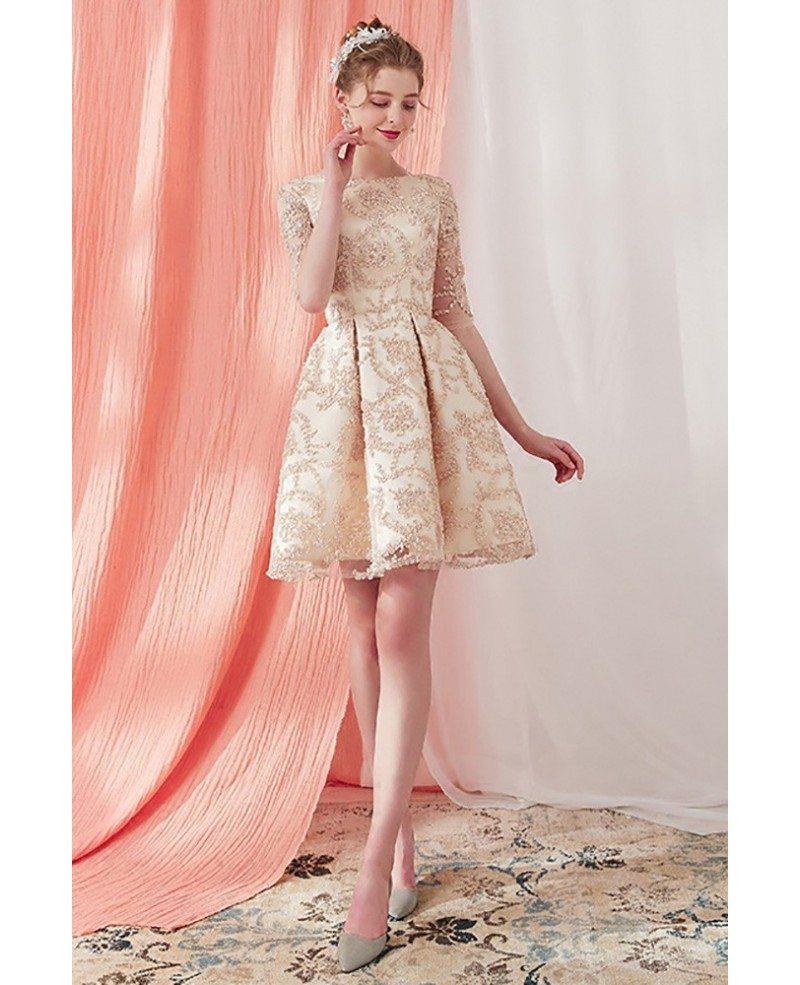 Champagne Lace Short Dress: Elegant Champagne Lace Half Sleeve Short Homecoming Dress