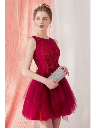 Cute Burgundy Short Tulle Tutu Homecoming Prom Dress with Lace