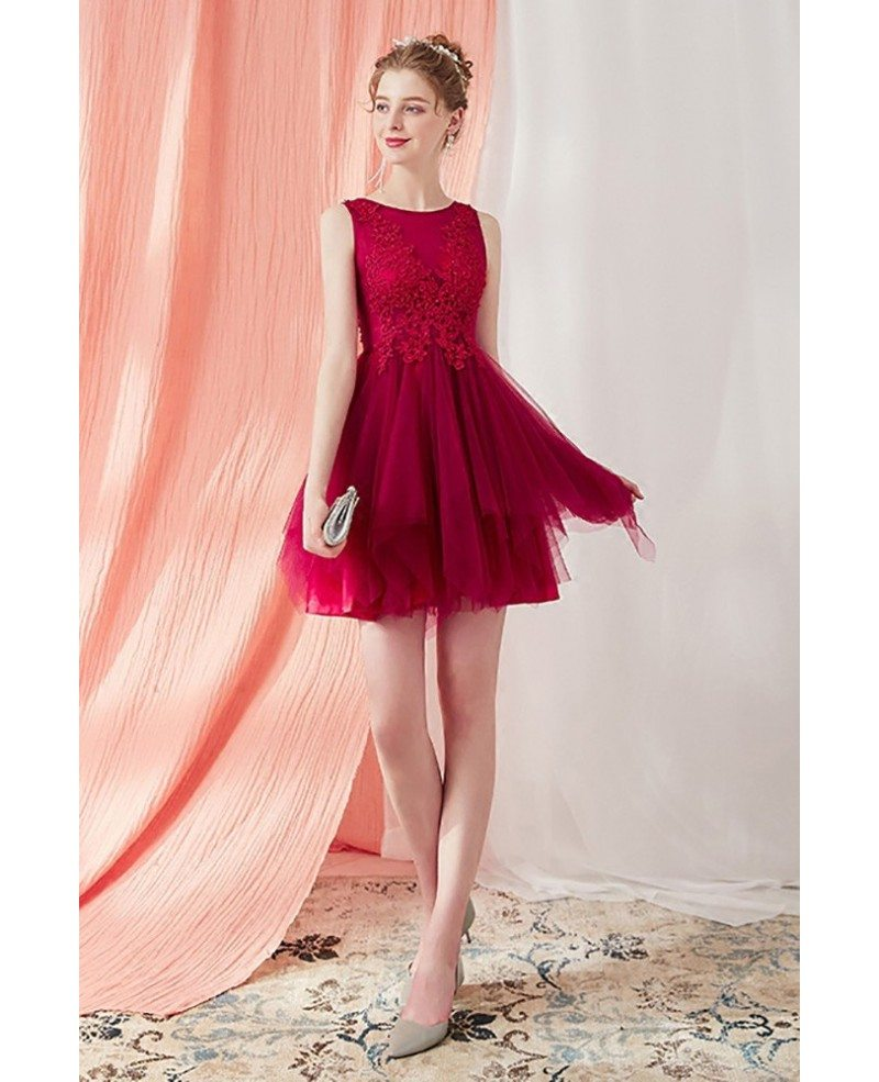 cute burgundy short tulle tutu homecoming prom dress with