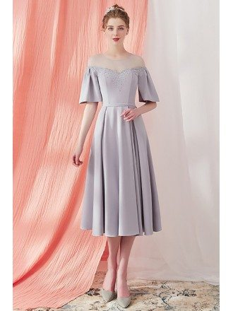 Elegant Grey Knee Length Vintage Party Dress with Sleeves