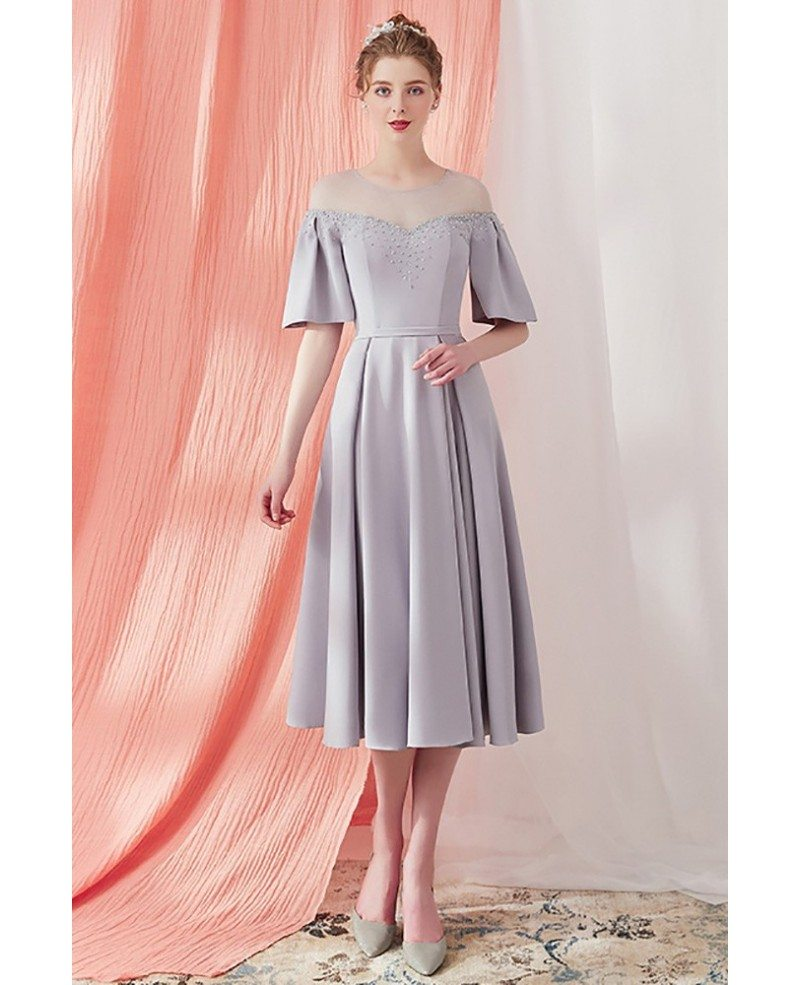 Knee length party dresses with sleeves online line poles