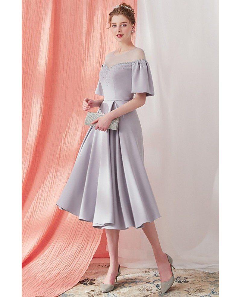 Elegant Grey Knee Length Vintage Party Dress With Sleeves