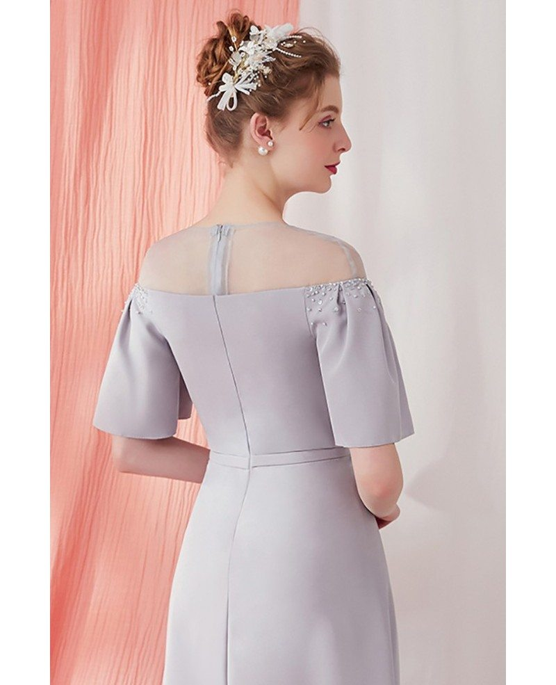 Elegant Grey And White Living Room: Elegant Grey Knee Length Vintage Party Dress With Sleeves