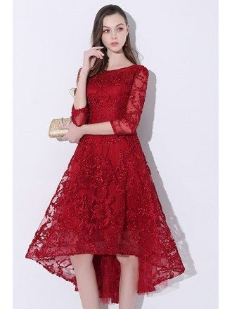 2018 Burgundy Red Lace Homecoming Party Dress with Sleeves
