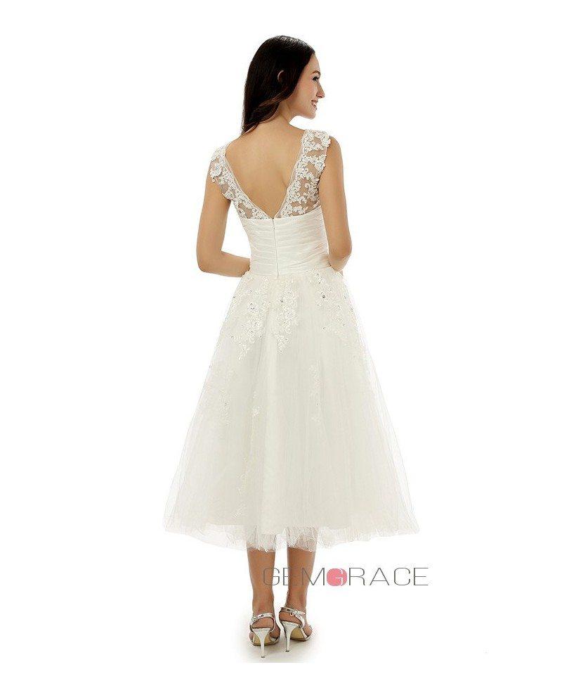 A line tea length wedding dress for older brides lace for A line tea length wedding dress