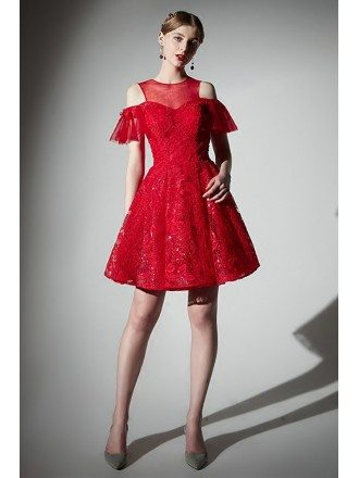 Gorgeous Short Red Lace Cold Shoulder Homecoming Party Dress