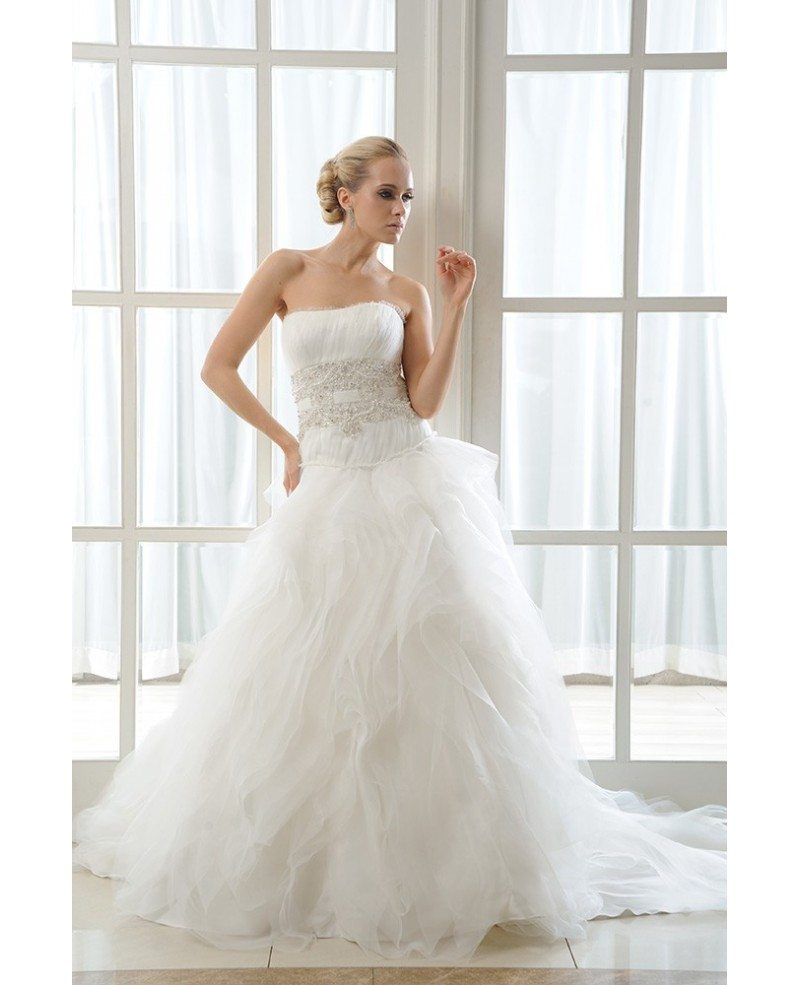 Ball-Gown Strapless Chapel Train Organza Wedding Dress With ...