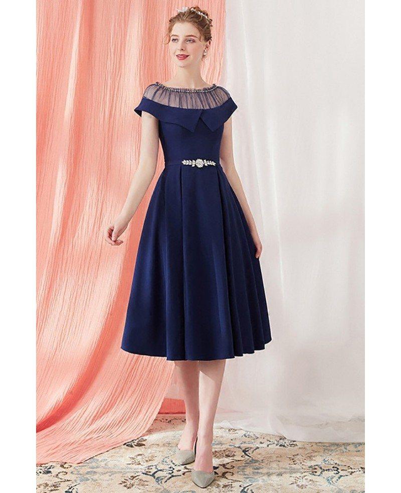 Elegant Navy Blue Vintage Homecoming Party Dress Knee