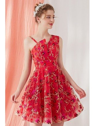 2018 Embroidered Tulle Flare Red Hommecoming Dress Short