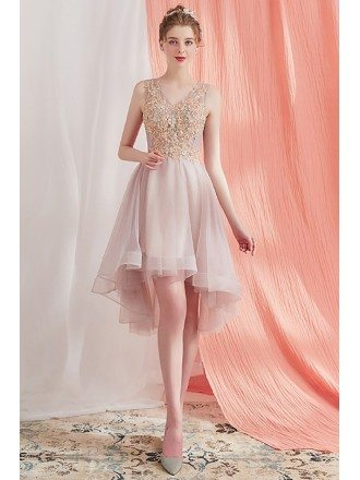 Pretty High Low Short Party Homecoming Dress Beaded Lace V-neck