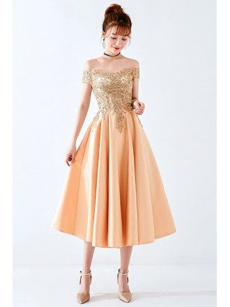 Sparkly Gold Sequin Midi Homecoming Party Dress Off Shoulder