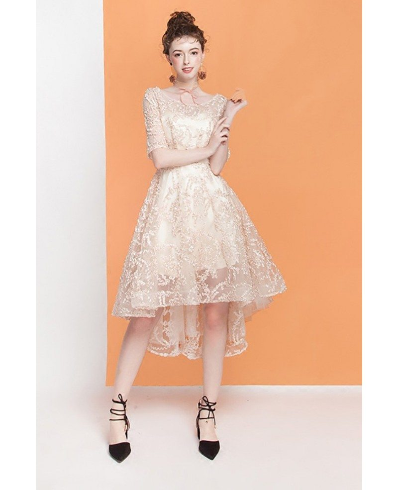 2ce2fc7f2a43 Pretty Champagne Lace High Low Homecoming Dress With Short