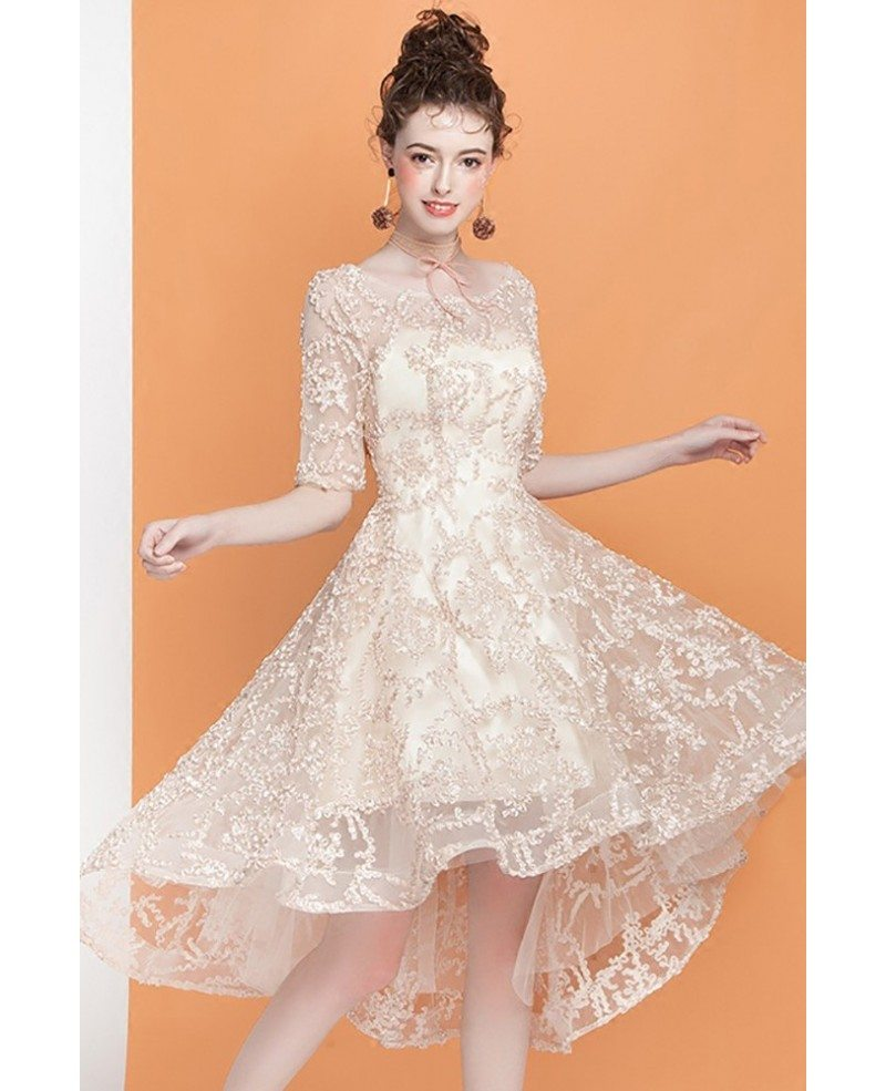 Champagne Lace Short Dress: Pretty Champagne Lace High Low Homecoming Dress With Short