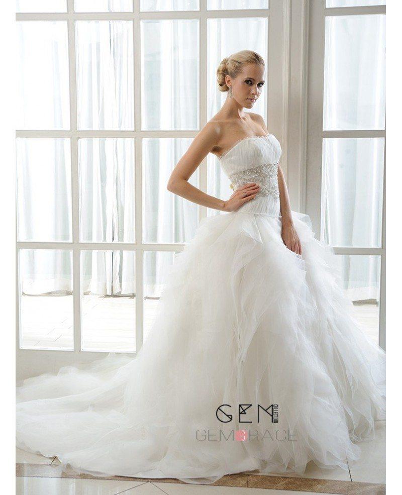 Ball gown strapless chapel train organza wedding dress for Wedding dresses chapel train