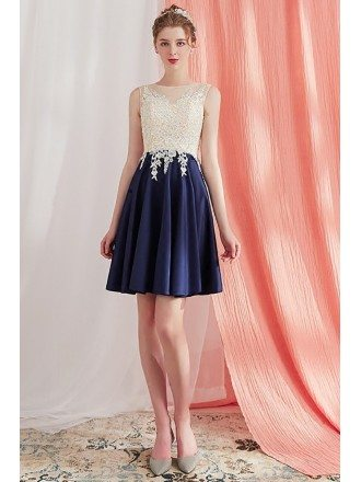 Elegant Lace Aline Short Homecoming Party Dress Navy Blue