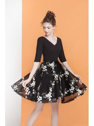 Vintage Black Appliques Short Homecoming Dress with Half Sleeves