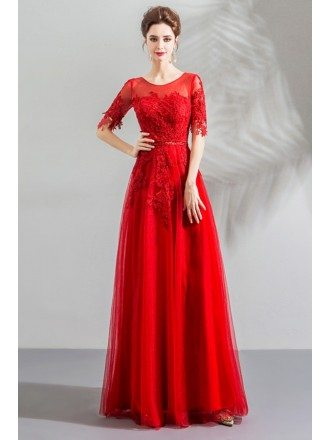 Elegant Red Flowy Long Tulle Formal Dress With Appliques Sleeves