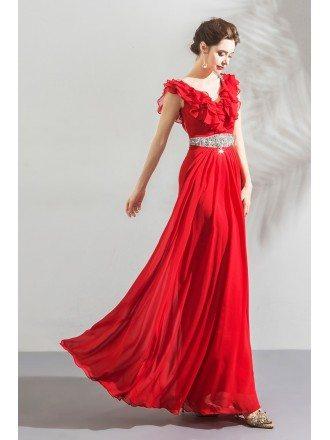 Elegant Long Red Chiffon Evening Party Dress With Jeweled Waistline