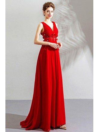 Flowy Long Red Chiffon Flowers V-neck Prom Dress Sleeveless